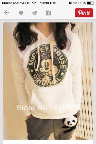 sweater mickey mouse hoodie white