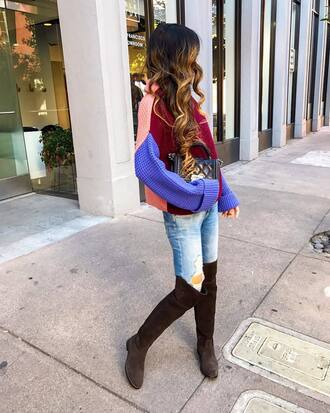 sweater tumblr knit knitwear knitted sweater denim jeans light blue jeans ripped jeans boots over the knee boots over the knee