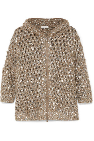 cardigan open gold knit sweater