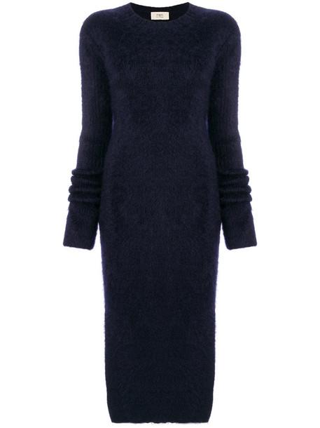 Ports 1961 - thigh slit dress - women - Mohair/Wool/Polyamide - XS, Blue, Mohair/Wool/Polyamide