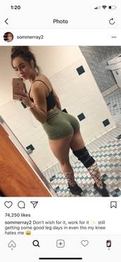 shorts,sommer ray,green,gym