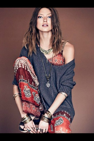 blouse pants jewels bracelets bangles necklace bohemian dress