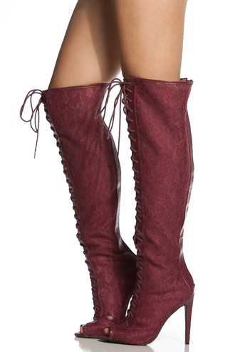 shoes burgandy thigh highs boots lace red high heels lace up peep toe