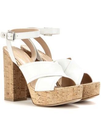 sandals platform sandals leather white shoes