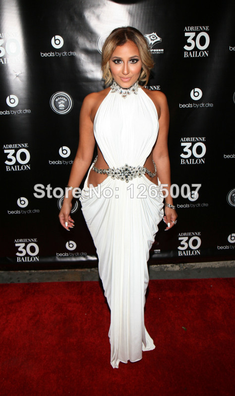 Aliexpress.com : Buy Adrienne Bailon High Neck Silvery Beaded Open Side Slit Front Ruffles A Line Chiffon Celebrity Dresses New Fashion For Summer from Reliable fashion dress suppliers suppliers on SFBridal