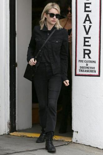 jeans all black everything streetstyle emma roberts