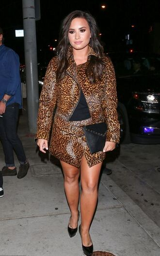 skirt top animal print leopard print demi lovato pumps fall outfits jacket blazer wrap skirt