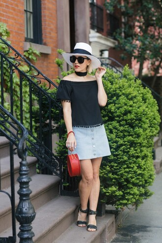 my style pill blogger hat sunglasses scarf top skirt shoes bag make-up