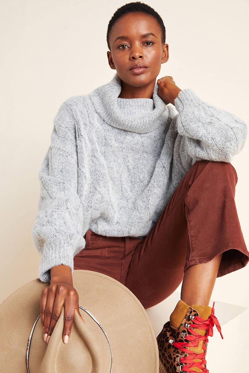 Naya Cable-Knit Turtleneck Sweater by Line & Dot in Grey
