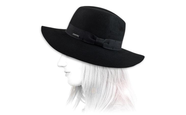 Capeline feutre noir - wool felt hat noir par Seeberger.