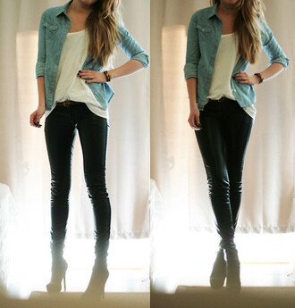 jacket chambray shirt denim shirt denim t-shirt white leather pants badass rocker chic casual