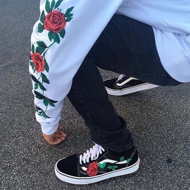 shirt white flowers vans oldskool shoes sneakers long sleeves oldskoolvans