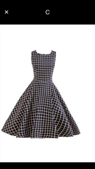dress black and white checkered print swing dress vintage dress 50s style knee length dress