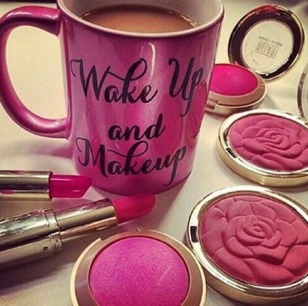 home accessory mug make-up girly pink