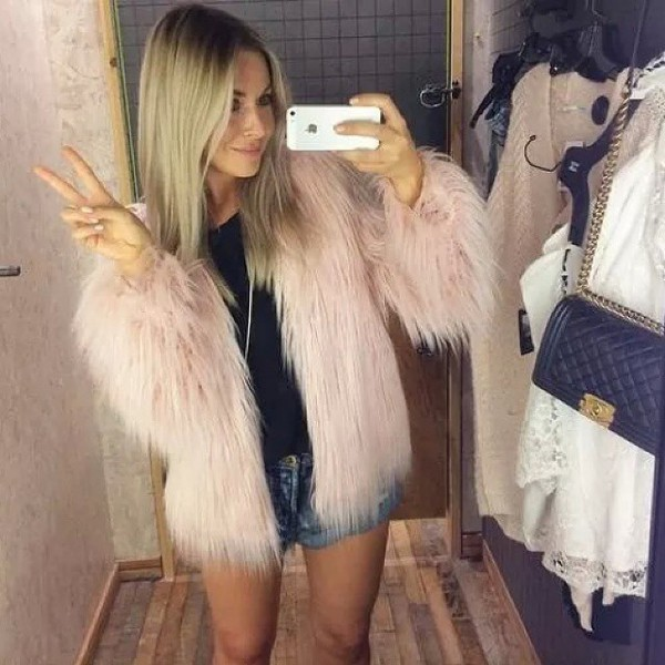 fur coat blonde hair jeans fluffy