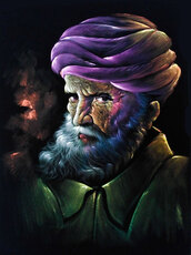 home accessory,rainbow handicraft,art,beared,turban,original,velvet,painting,portrait,old man