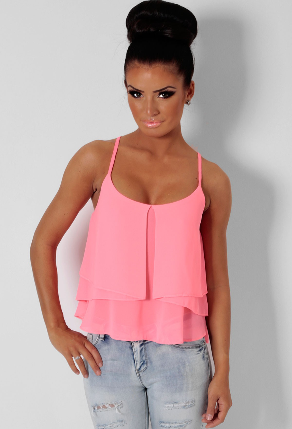 Candy Stick Pink Multi Layer Vest Top | Pink Boutique