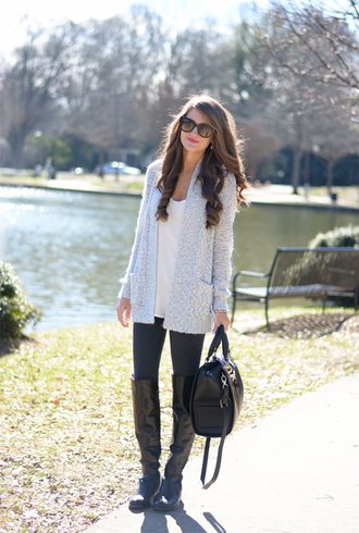 southern curls and pearls blogger cardigan sunglasses black boots black bag