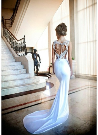 dress wedding white dress mermaid wedding dress fishtail dress fishtail jewels