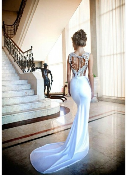 dress fishtail fishtail dress jewels wedding white dress mermaid wedding dresses
