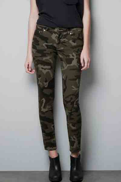 Army Green Camo Print Skinny Pants