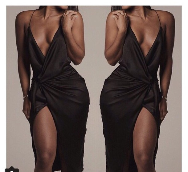 dress black deep v dress black dress silk dress plunge v neck plunge dress sexy dress party dress party backless dress