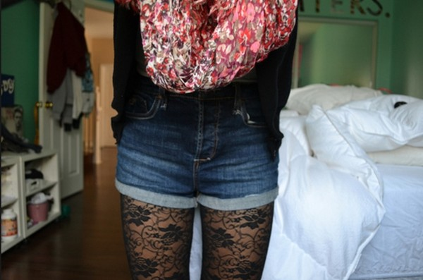 scarf High waisted shorts lace tights shorts underwear