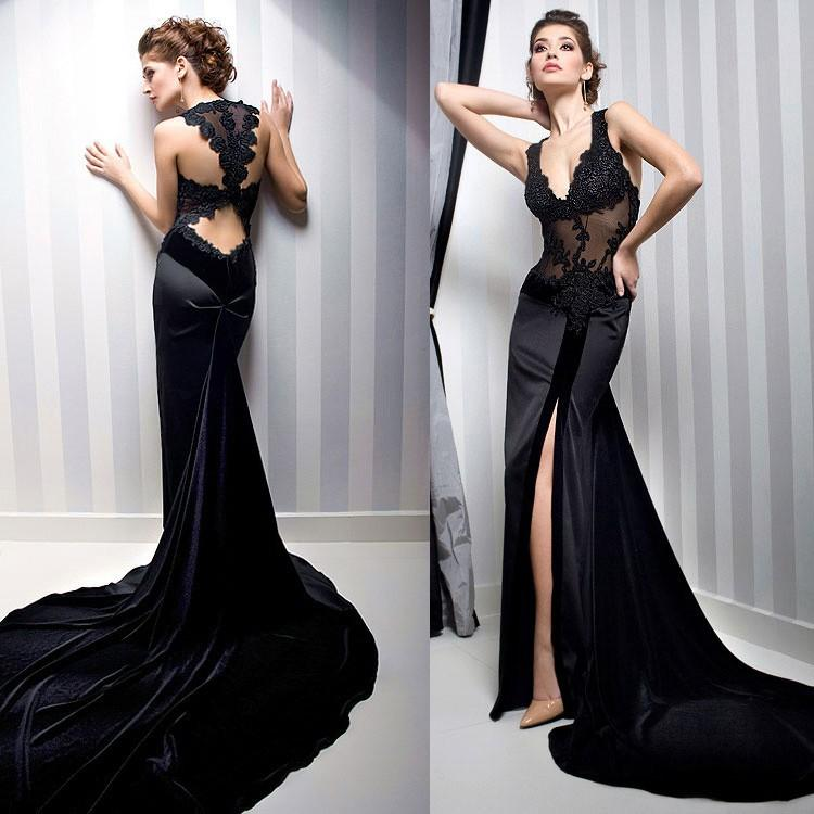 Long Dresses Online 2015 Sexy Elegant Long Mermaid Black Lace