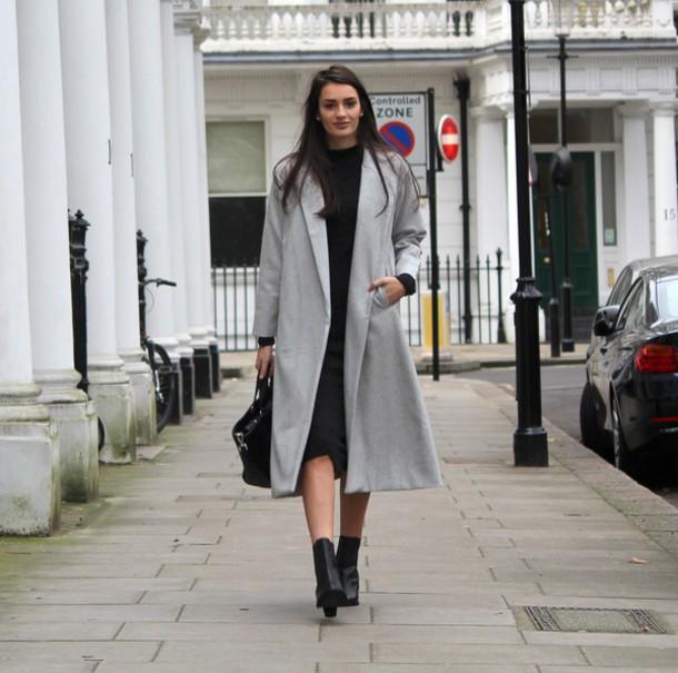 peexo blogger grey coat black boots