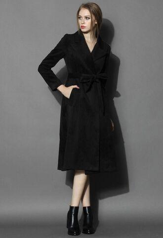 black coat www.ustrendy.com long line coat black wool coat wool blend coat self tie coat self tie belt lapel coat