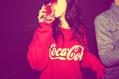 coca cola,red,sweater,sweatshirt,white,bag,clothes,red sweater,cocacola,coke,shirt,oversized,oversized sweater,funny,cute,girly,cute sweaters,crewneck,brand,jumper,coca,cola,sweat