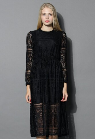 dress song of lace dress in black lace black chicwish