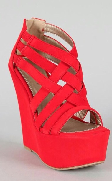 shoes, red wedges heels - Wheretoget