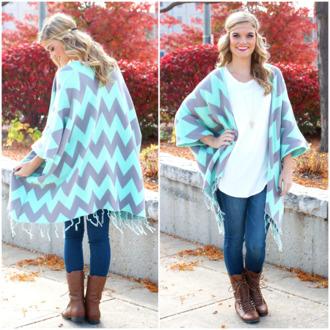 boho cardigan fringes knitwear turquoise mint jewels