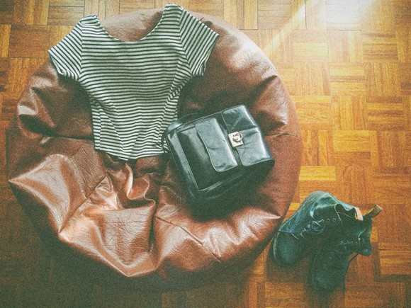 stripes bag t-shirt leather backpack leather boots leather leather bag DrMartens doc martens dr.martens green boots green leather backpack striped shirt zara vintage boots vintage shoes for her vintage old school retro