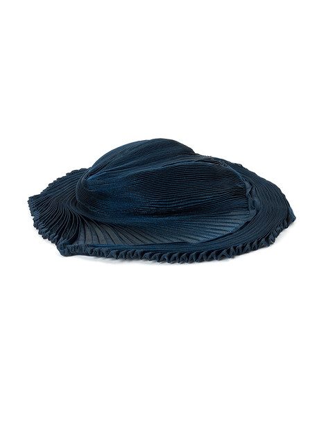 pleated hat blue