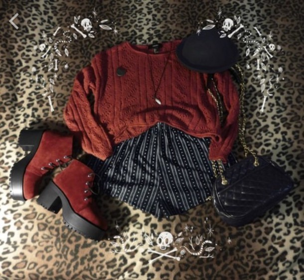 Shorts Indie Pattern Red Black And White Heels Entire Outfit