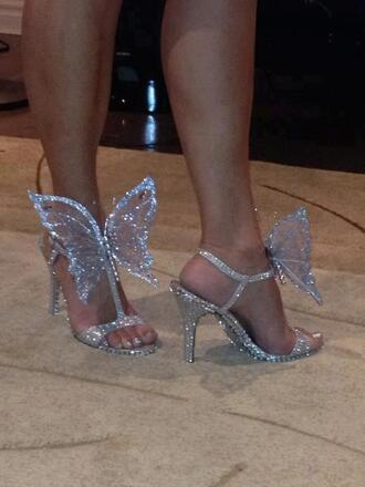 shoes butterfly silver glitter sandals high heels heels white glamour open toes silver sandals sparkle glittery shoes