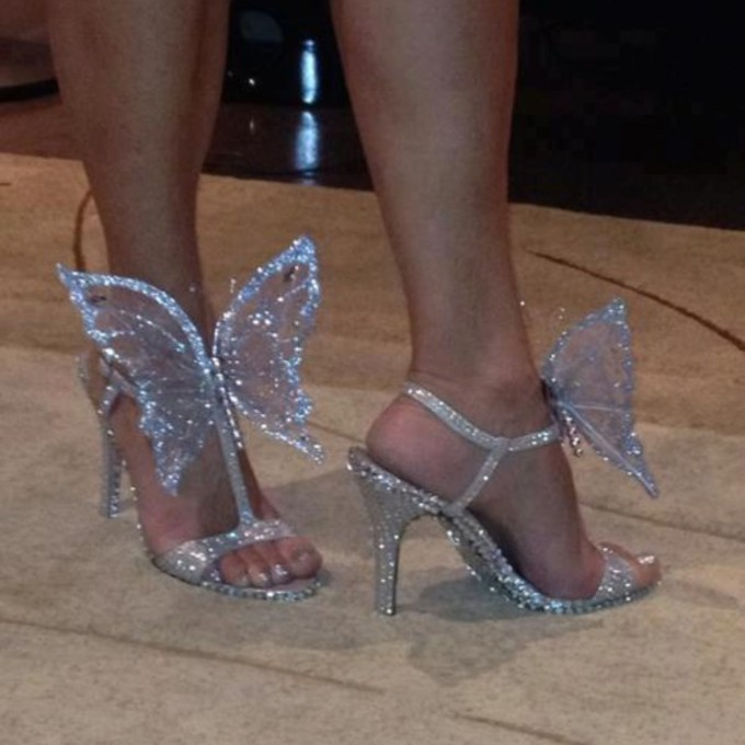 shoes open toes white butterfly glitter high heels