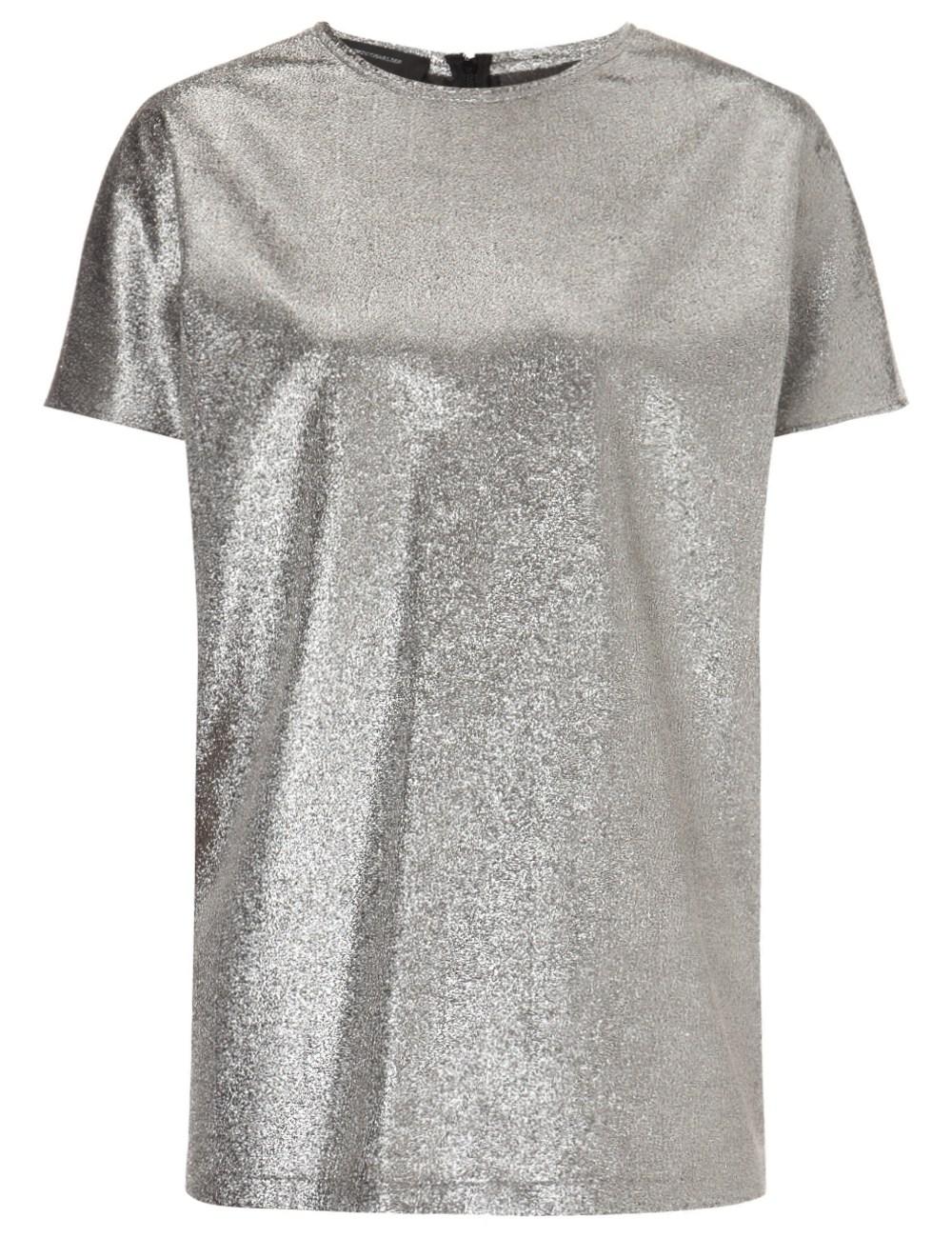 Silver silk lamé top