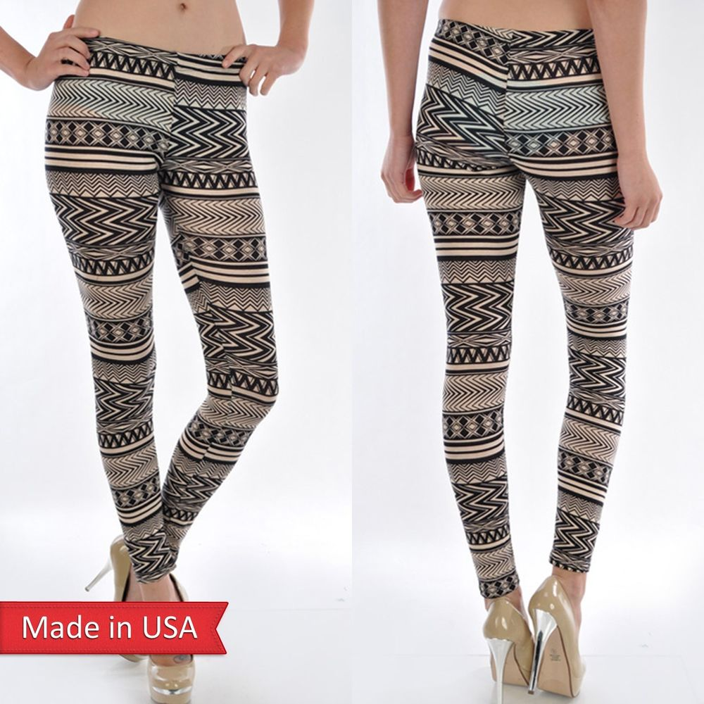 New Women Fashion Soft Cotton Aztec Tribal Print Beige Leggings Tights Pants USA