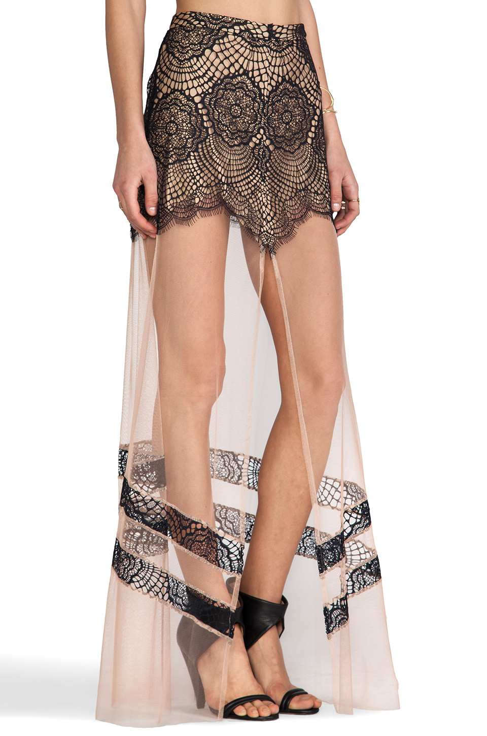 For Love & Lemons Antigua Maxi Skirt in Black | REVOLVE