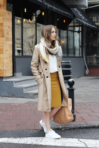 fashion and style blogger mustard pencil skirt trench coat white sweater stan smith shoes skirt sweater coat scarf bag jewels