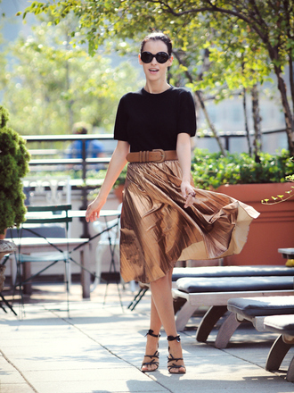 bittersweet colours t-shirt skirt shoes belt sunglasses metallic pleated skirt