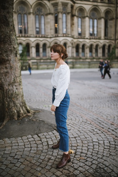 blouse tumblr white blouse denim jeans blue jeans cropped jeans boots brown boots ankle boots