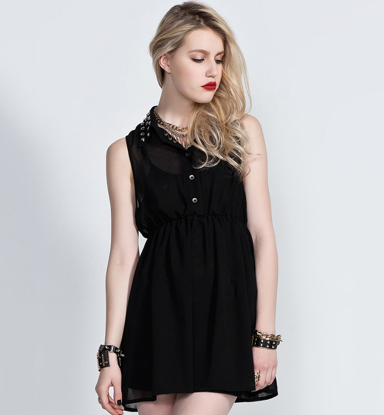 Dress With Metal Studded Collars