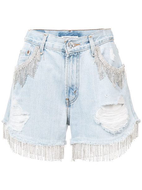 death by dolls shorts distressed shorts women embellished cotton blue
