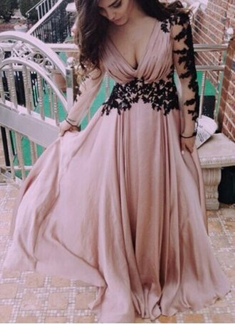 dress flowy pink embroidered maxi dress prom dress chic formal feminine fashion style