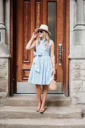 bows&sequins,blogger,dress,hat,shoes,bag,sunglasses,jewels,mini dress,t-shirt,t-shirt dress,blue dress,light blue,straw hat,shirt dress,basket bag,sandals,nude sandals,summer outfits,bow dress