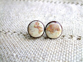 jewels earing studs earings girly tumblr girl map print map studded